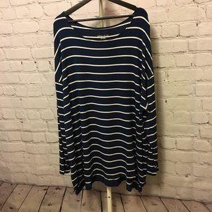 Long sleeve long length tshirt-navy